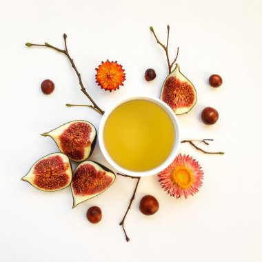 Bright morning cup of tea with fig fruits. Autumn decoration. Flat lay, top view