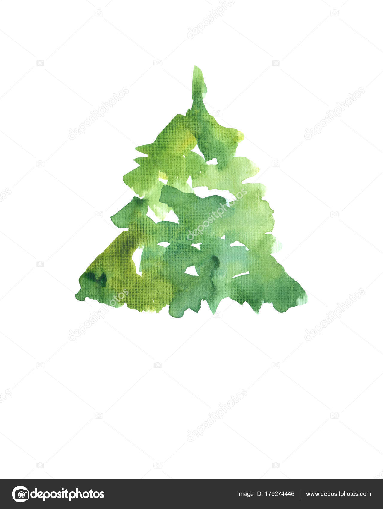 Sulu Boya Resim Yeşil çam Ağacı Stok Foto Milanawork At Mailru