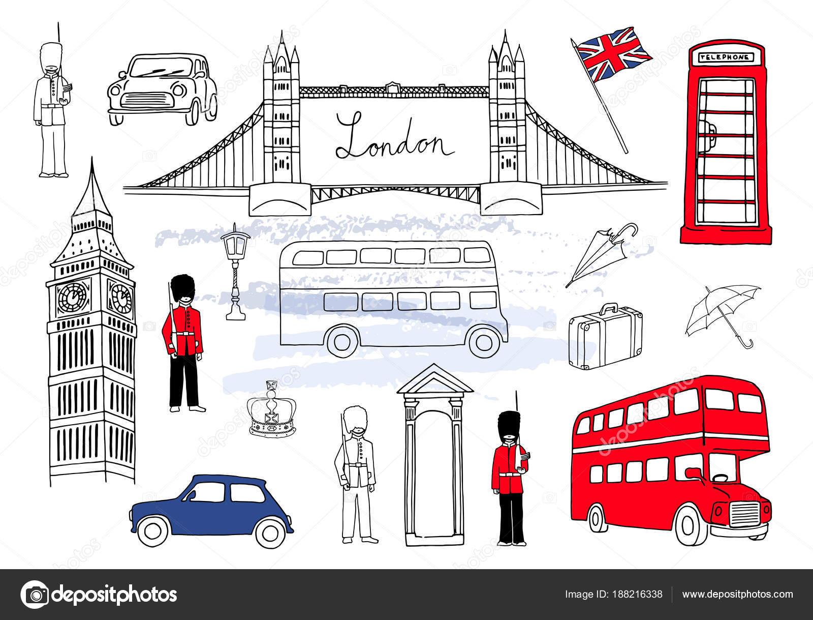 Ilustración de vector. Monumentos de Londres. Colección de elementos ...