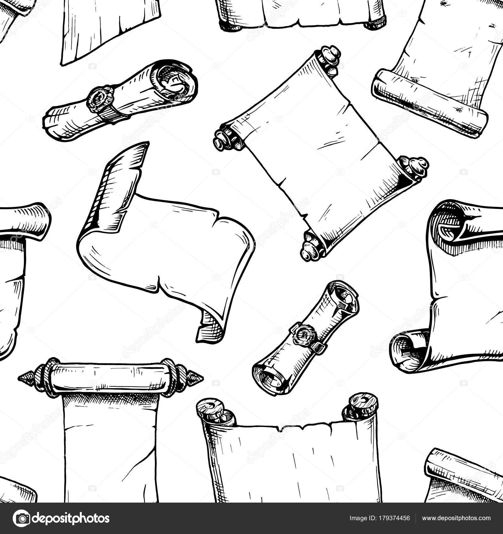 Muster mit alten Schriftrolle — Stockvektor © suricoma #179374456