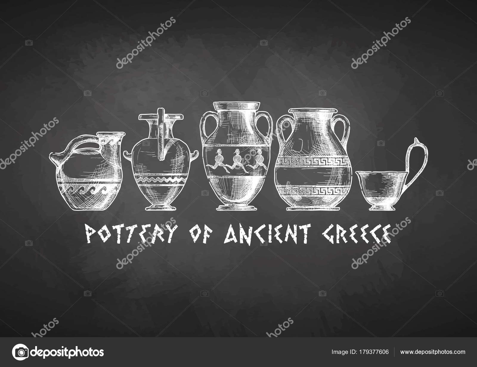 Typology of greek vase shapes stock vector suricoma 179377606 pottery of ancient greece vases set drawn with chalk on blackboard types of vases askos pottery vessel hydria amphora pelike kyathos reviewsmspy