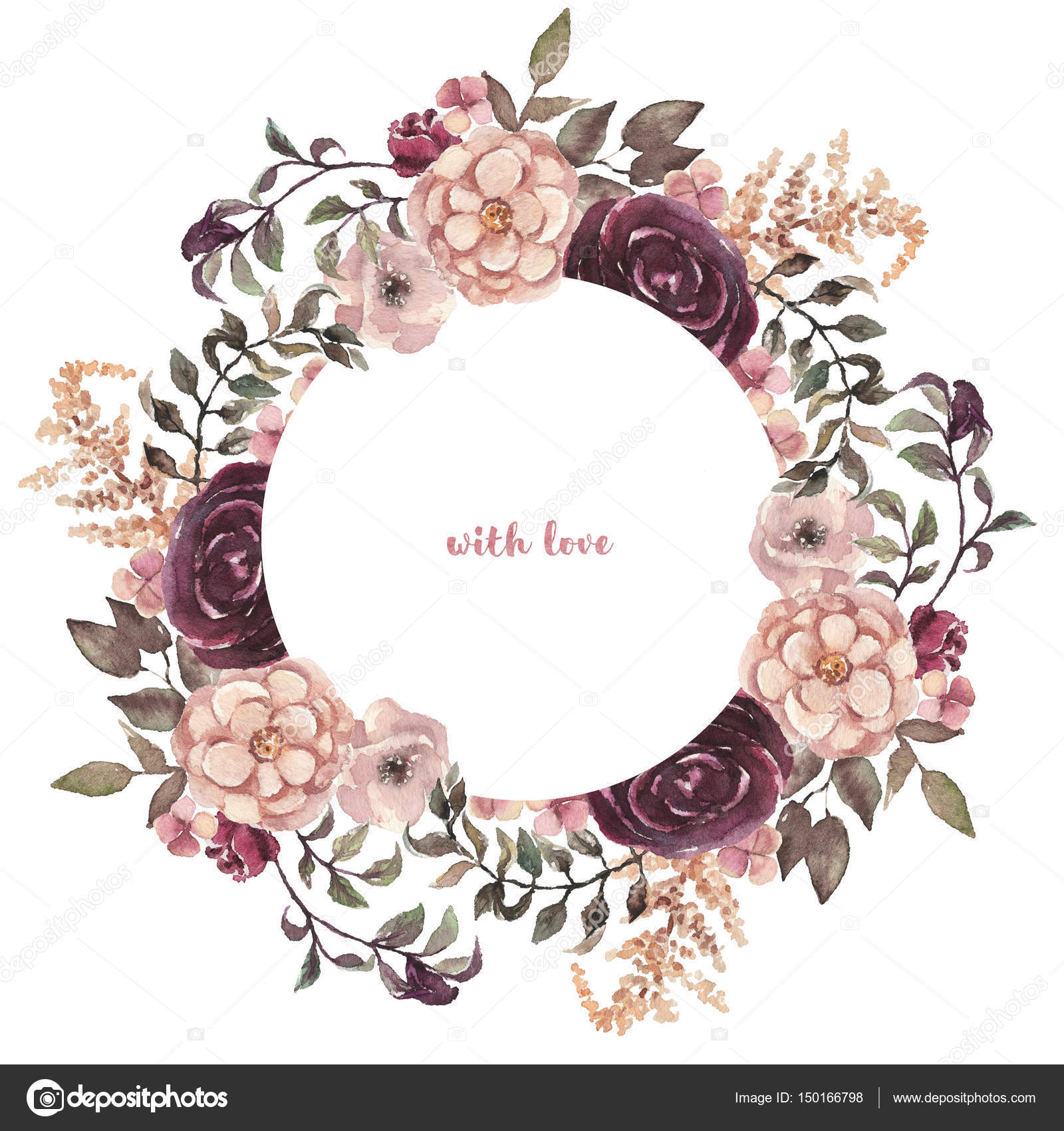 Cuadro acuarela guirnalda floral pintado a mano — Fotos de Stock ...