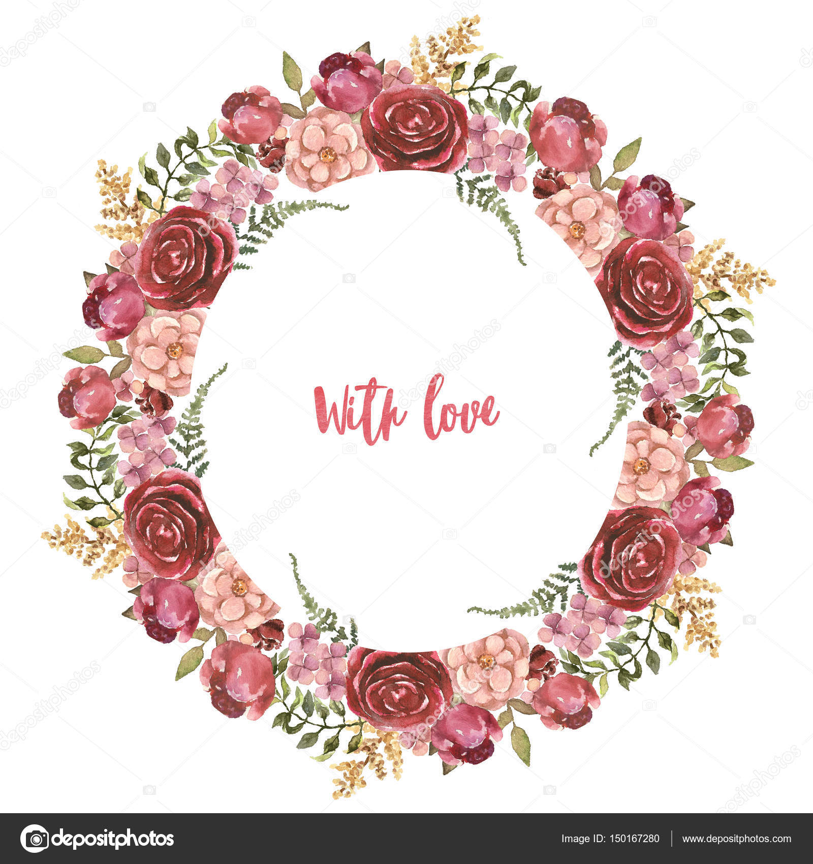 Watercolor hand-painted floral wreath frame — Stock Photo