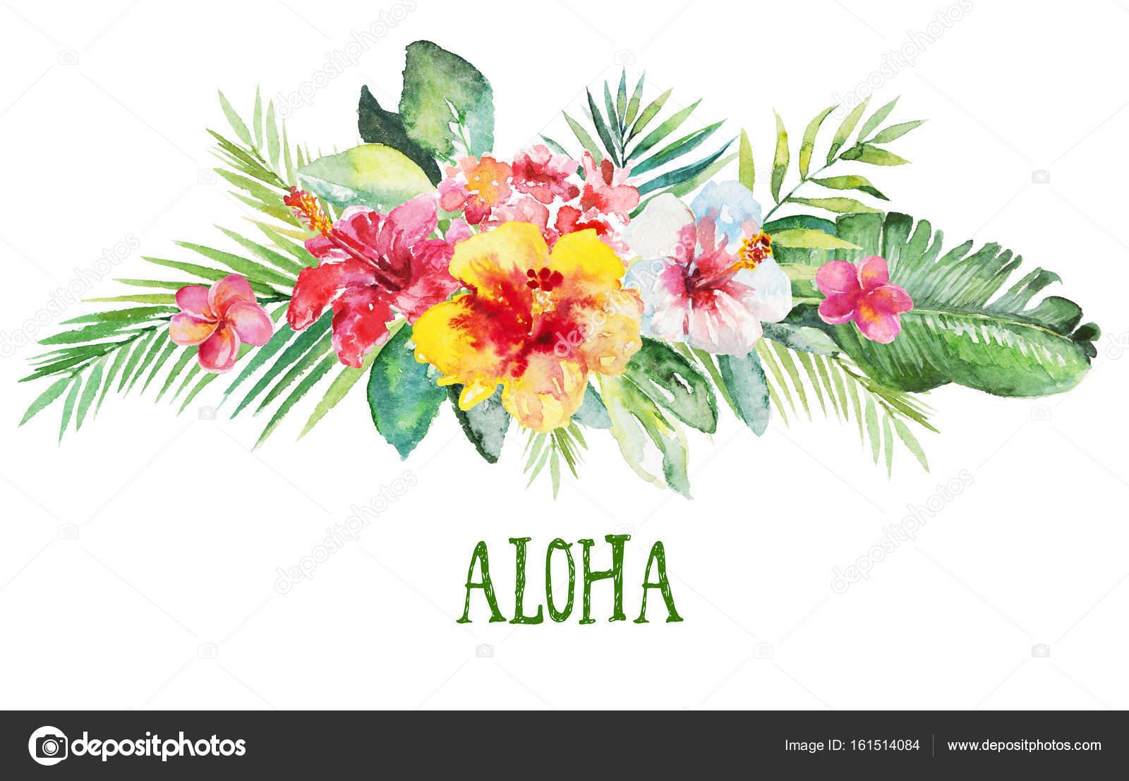 Illustration Aquarelle Fleur Floral Bouquet Avec Les Feuilles