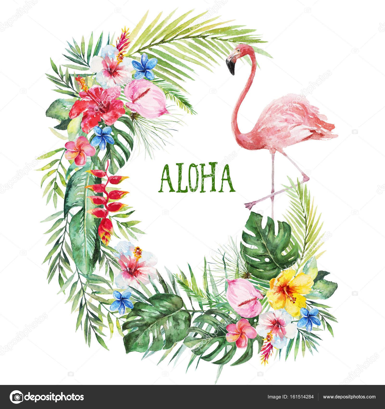 Ilustración floral acuarela - hojas de guirnalda verde tropical ...