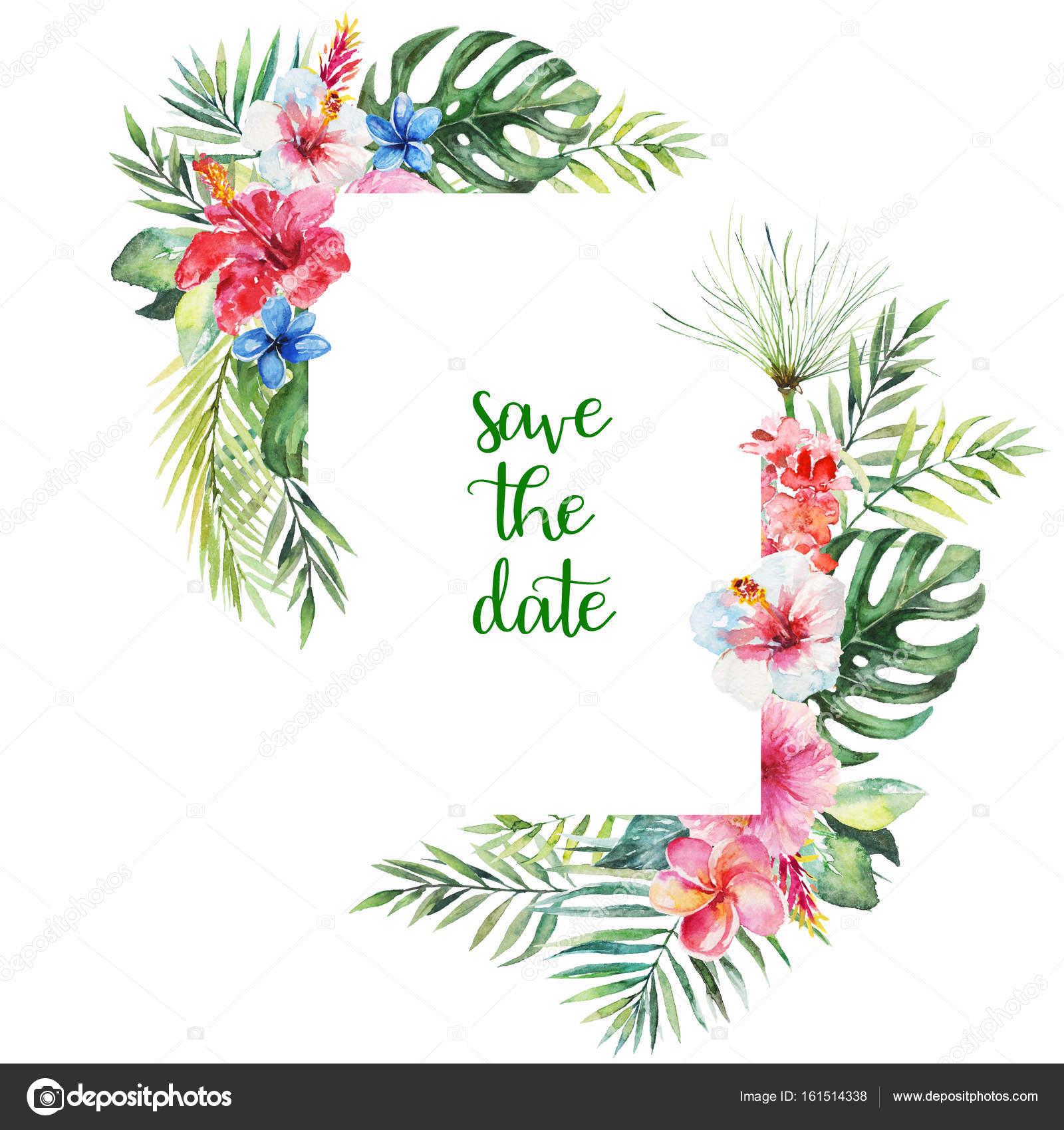 Ilustración floral tropical acuarela - flores y hojas marco de ...