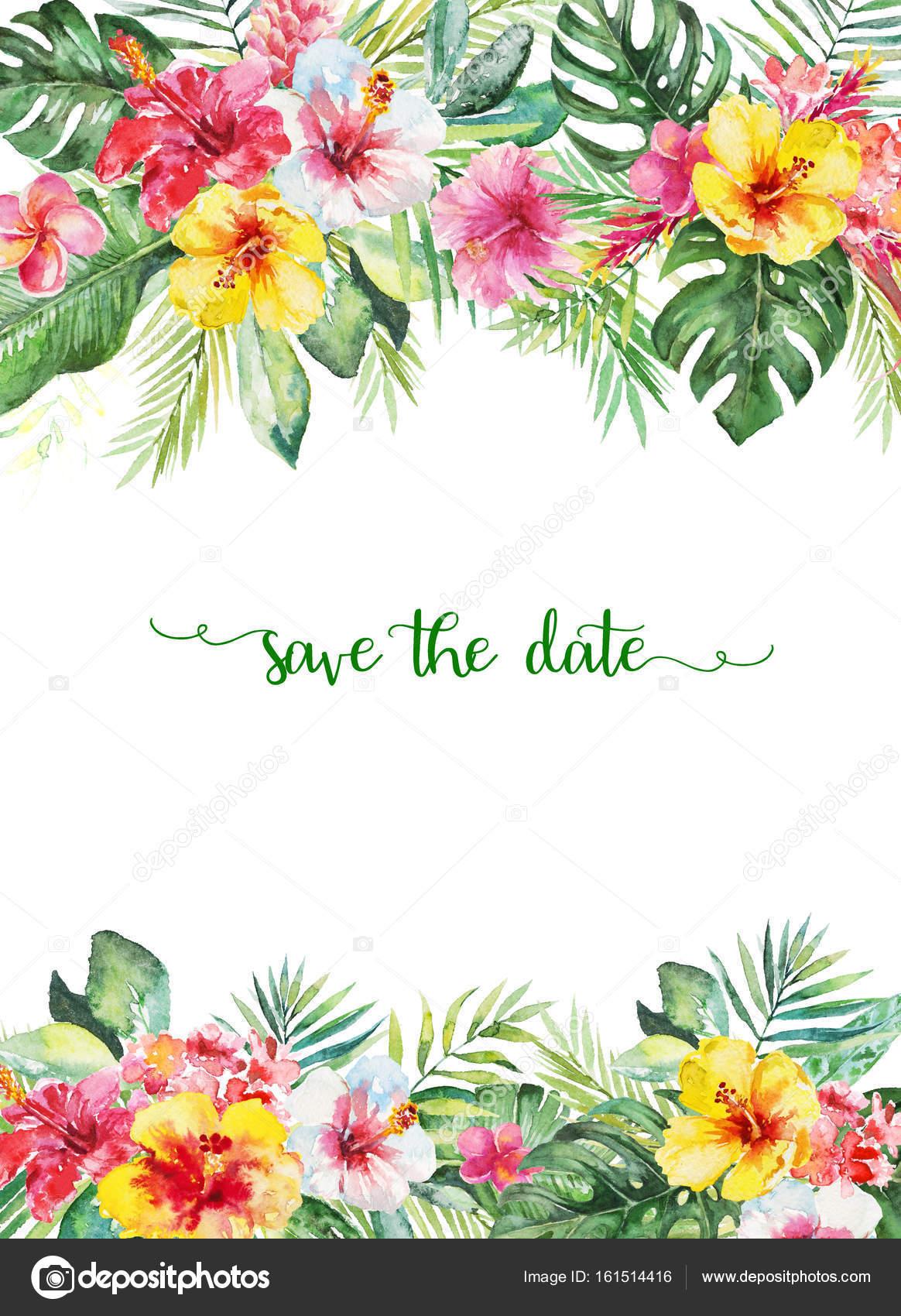 水彩の熱帯花のイラスト 結婚式記念日誕生日招待状カード