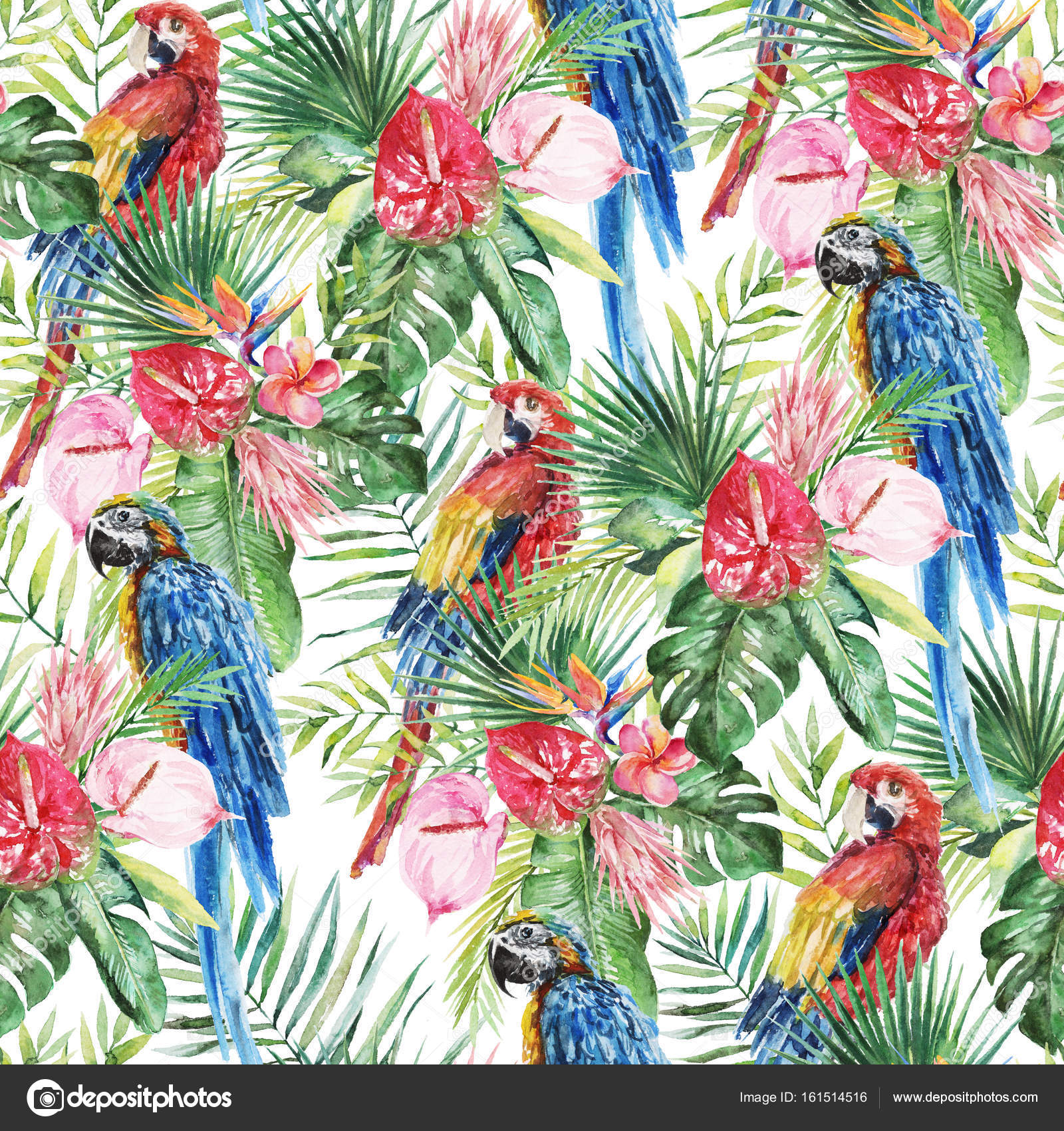 Green Palm Leaves Bright Macaw Parrots Colorful Flowers On The White Background Watercolor Hand Painted Seamless Pattern Tropical Illustration