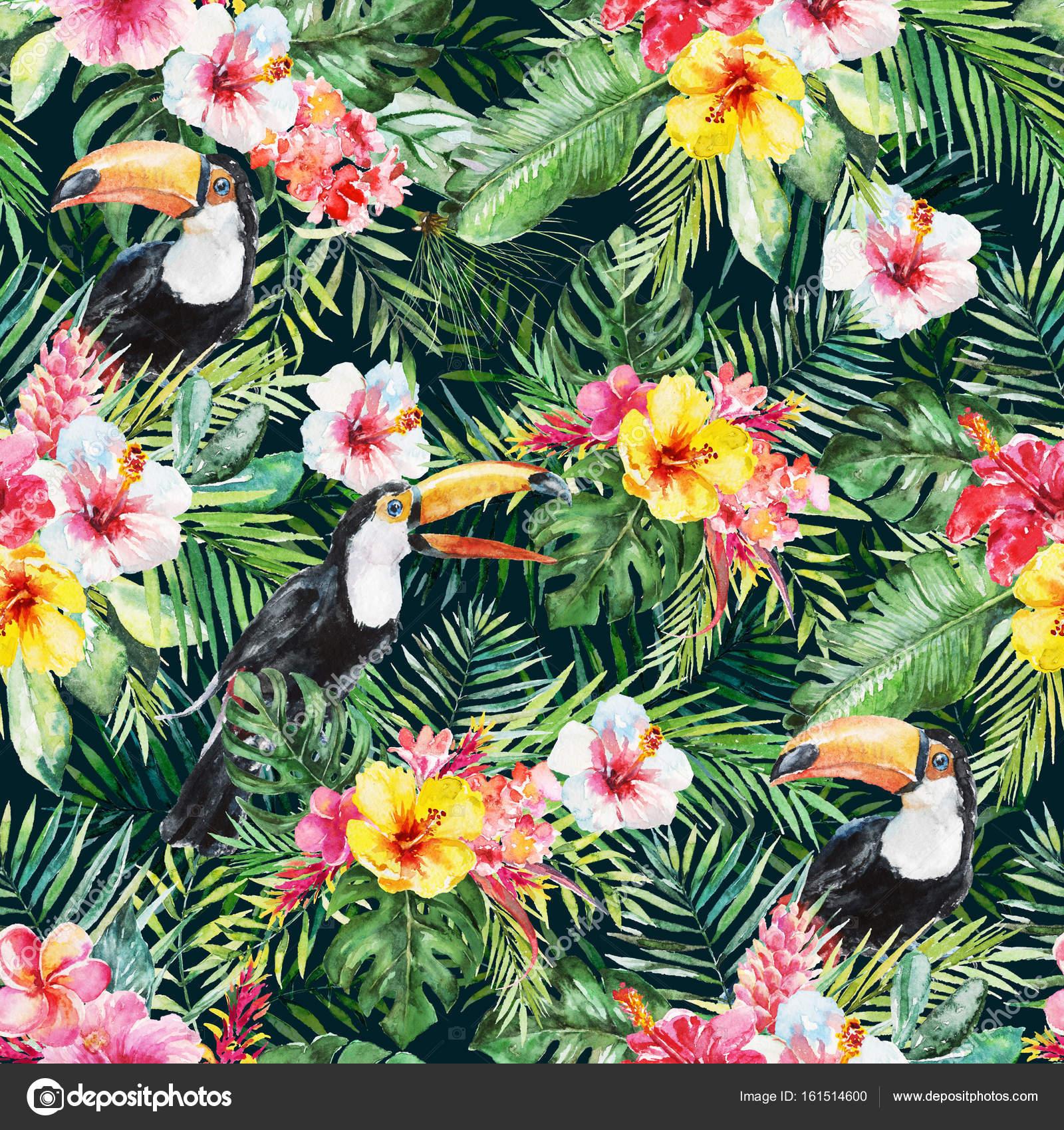b991085700d404 Grüne Palmblätter, weiße Tukan Vogel, bunte Blumen auf dem schwarzen  Hintergrund. Aquarell handgemalte Musterdesign. Tropischen Abbildung.  Dschungel Laub.