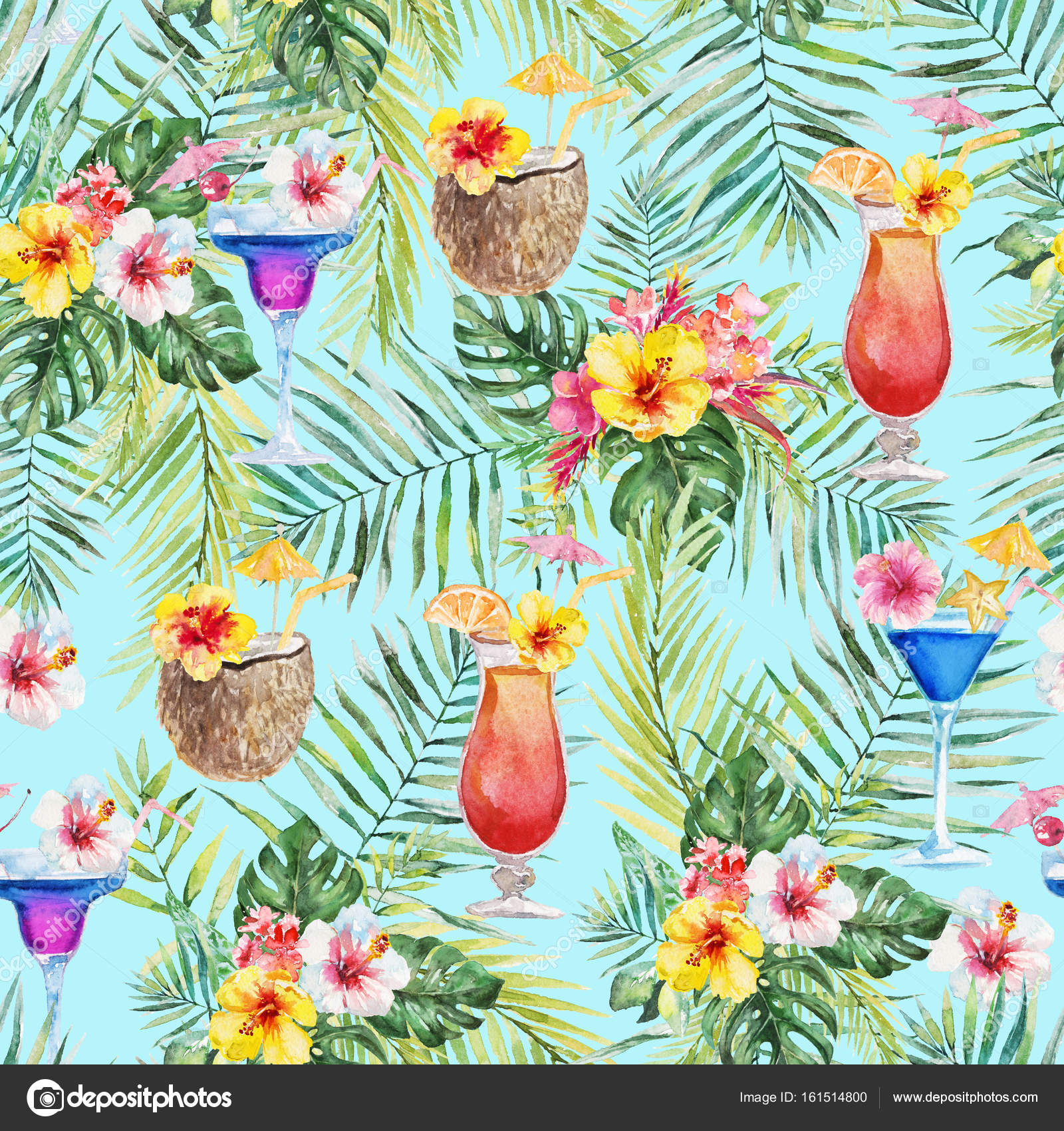 Green Palm Leaves Colorful Flowers Bright Cocktails And Coconut Beverages On The Blue Background Watercolor Hand Painted Seamless Pattern