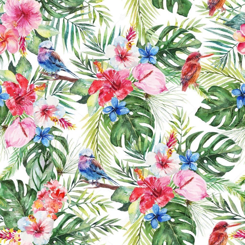 826d57acb3efc0 Grüne Palmblätter, Painted Bunting Vogel, bunte Blumen auf weißem  Hintergrund. Aquarell handgemalte Musterdesign. Tropischen Abbildung.  Dschungel Laub.