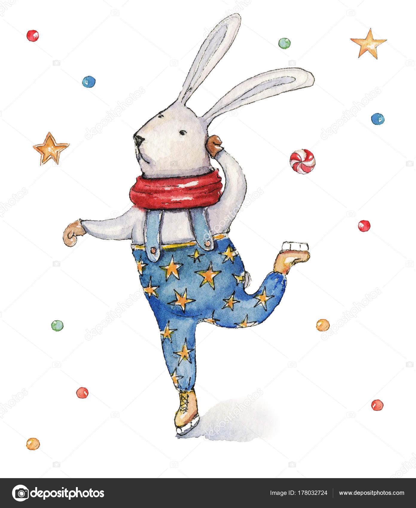 Watercolor Christmas Illustration Ski Dancing Hare Christmas Cards ...