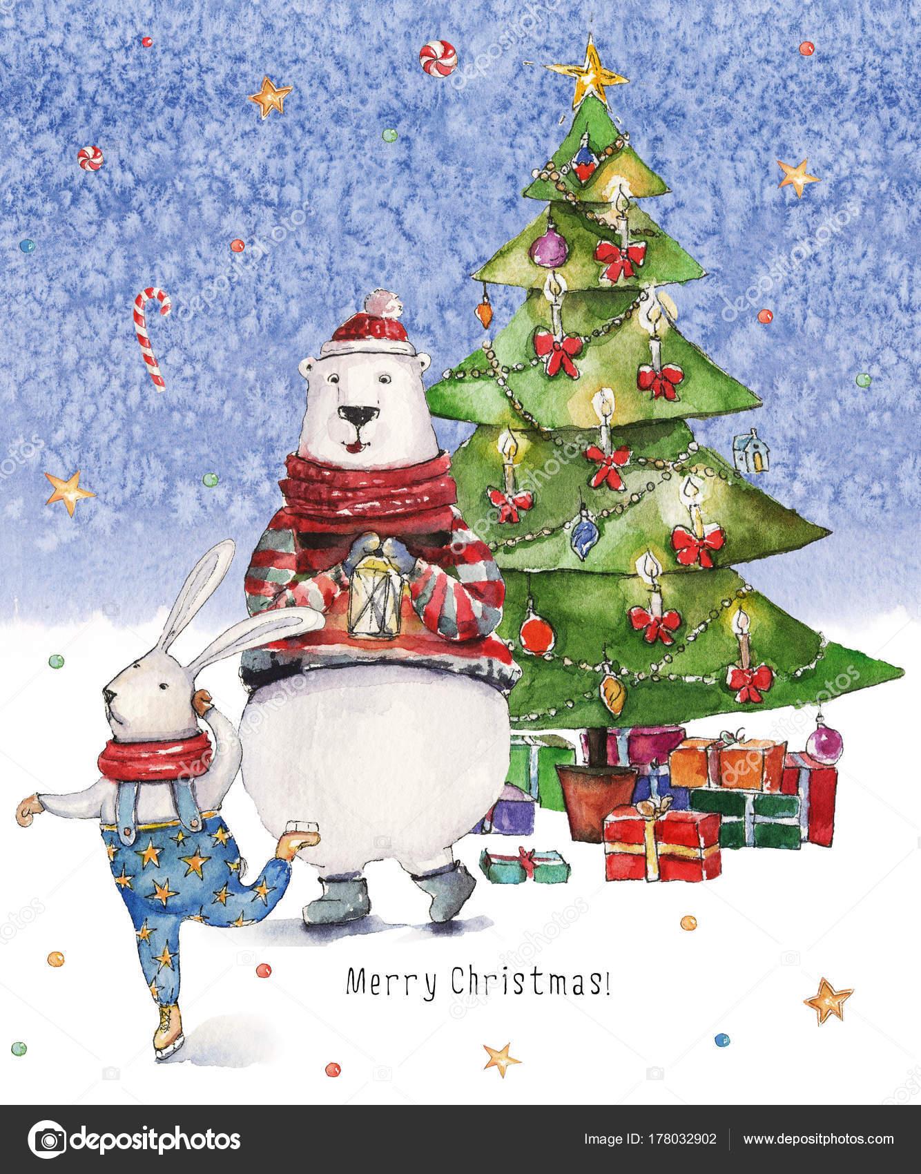 Watercolor Christmas Illustration Christmas Tree Presents Colorful ...