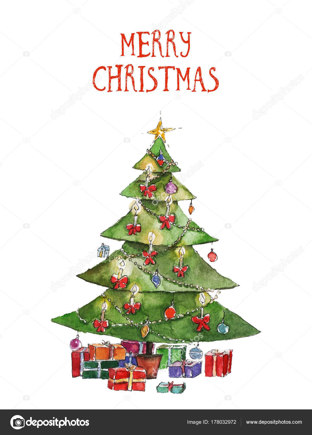 Foto Un Arbol De Navidad Acuarela Ilustracion Navidad Con Arbol - Arbol-navidad-diseo