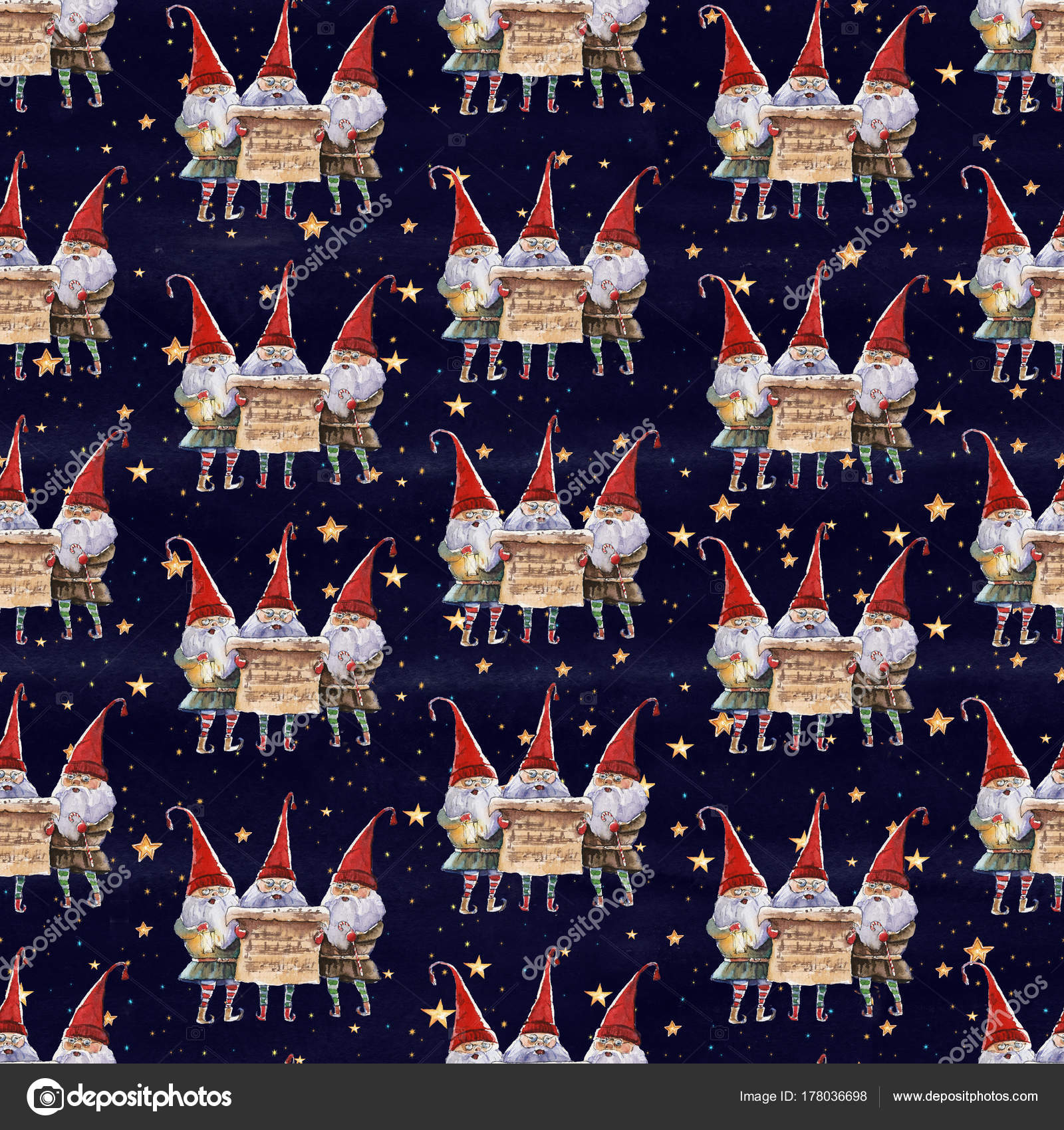 Aquarell Handgezeichneten Weihnachten Musterdesign Mit Singen ...