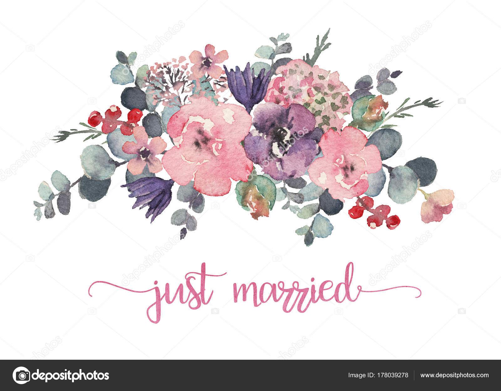 Watercolor Floral Illustration Flower Bouquet Wedding Anniversary ...