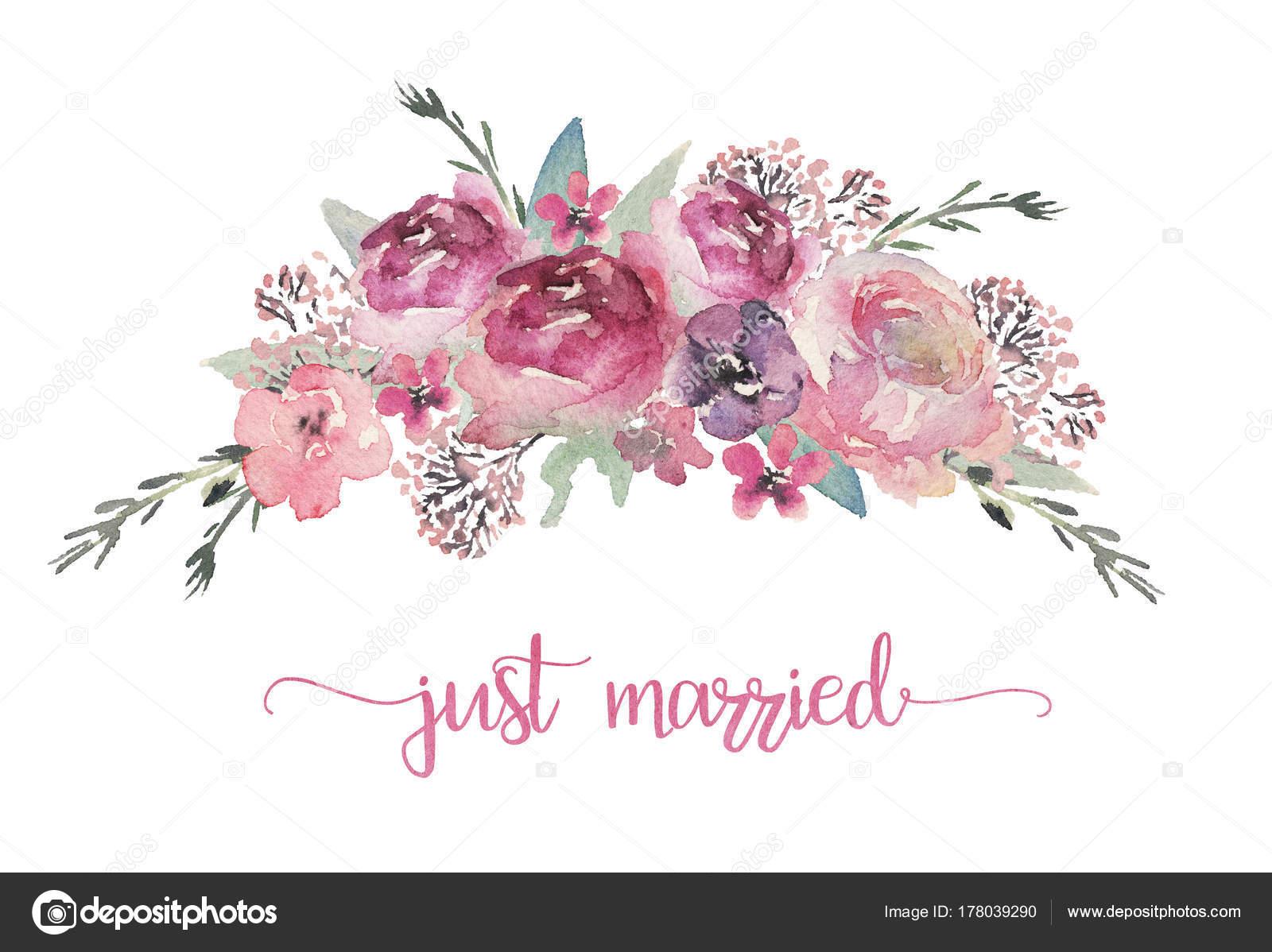 水彩花のイラスト 結婚式 記念日 誕生日 等の招待状の花の花束