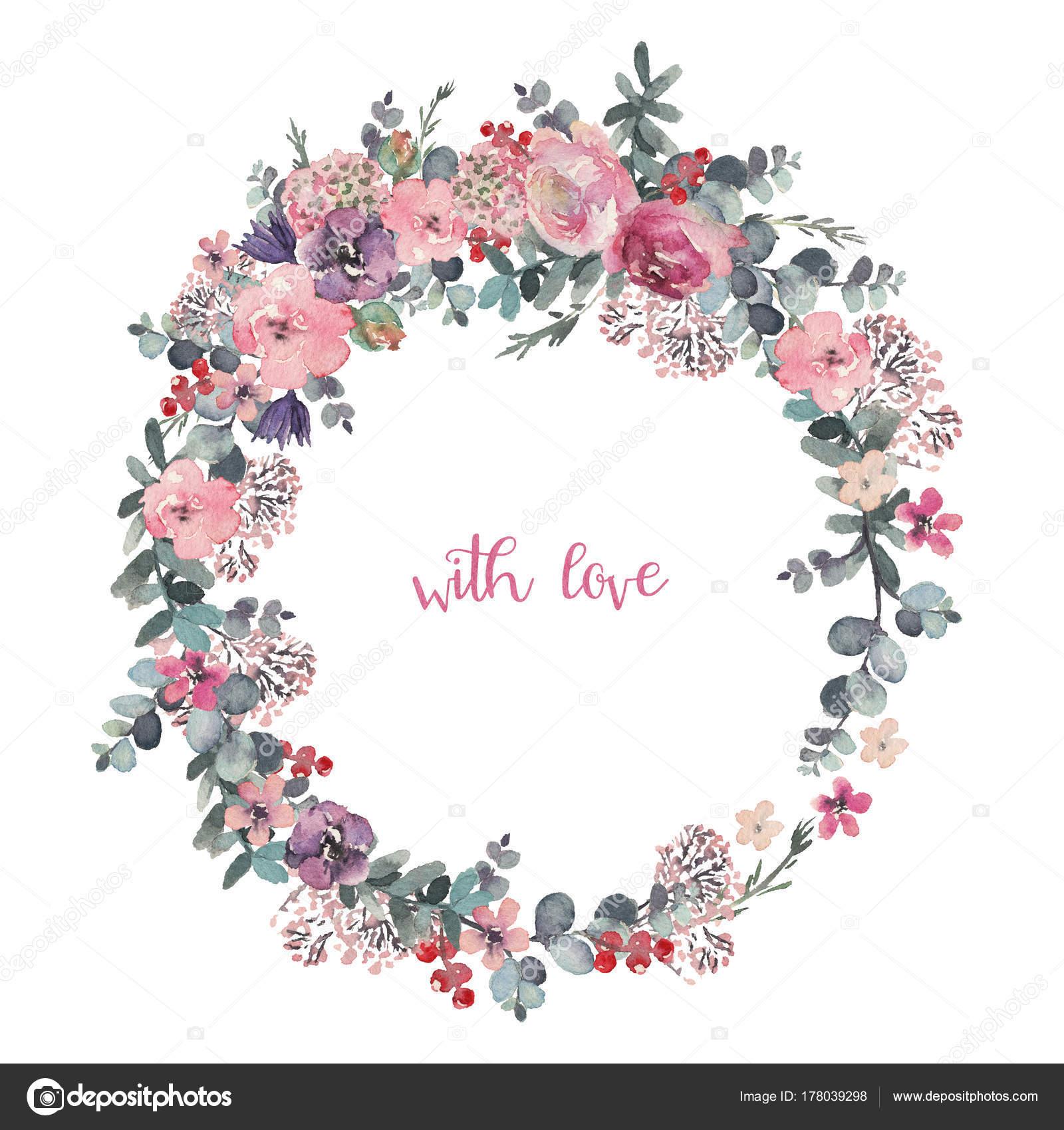 水彩花のイラスト 結婚式 記念日 誕生日 等の招待状の花の花輪