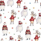 Watercolor hand drawn Christmas seamless pattern with snowman, deer in a red sweater and colorful bear on white background