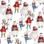 Seamless watercolor Christmas pattern background with bear, deer snowman and bunny