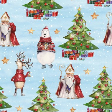 Watercolor hand drawn Christmas seamless pattern with Saint Nicholas, holiday deer, colorful bear and Christmas tree with presents on icy-blue background