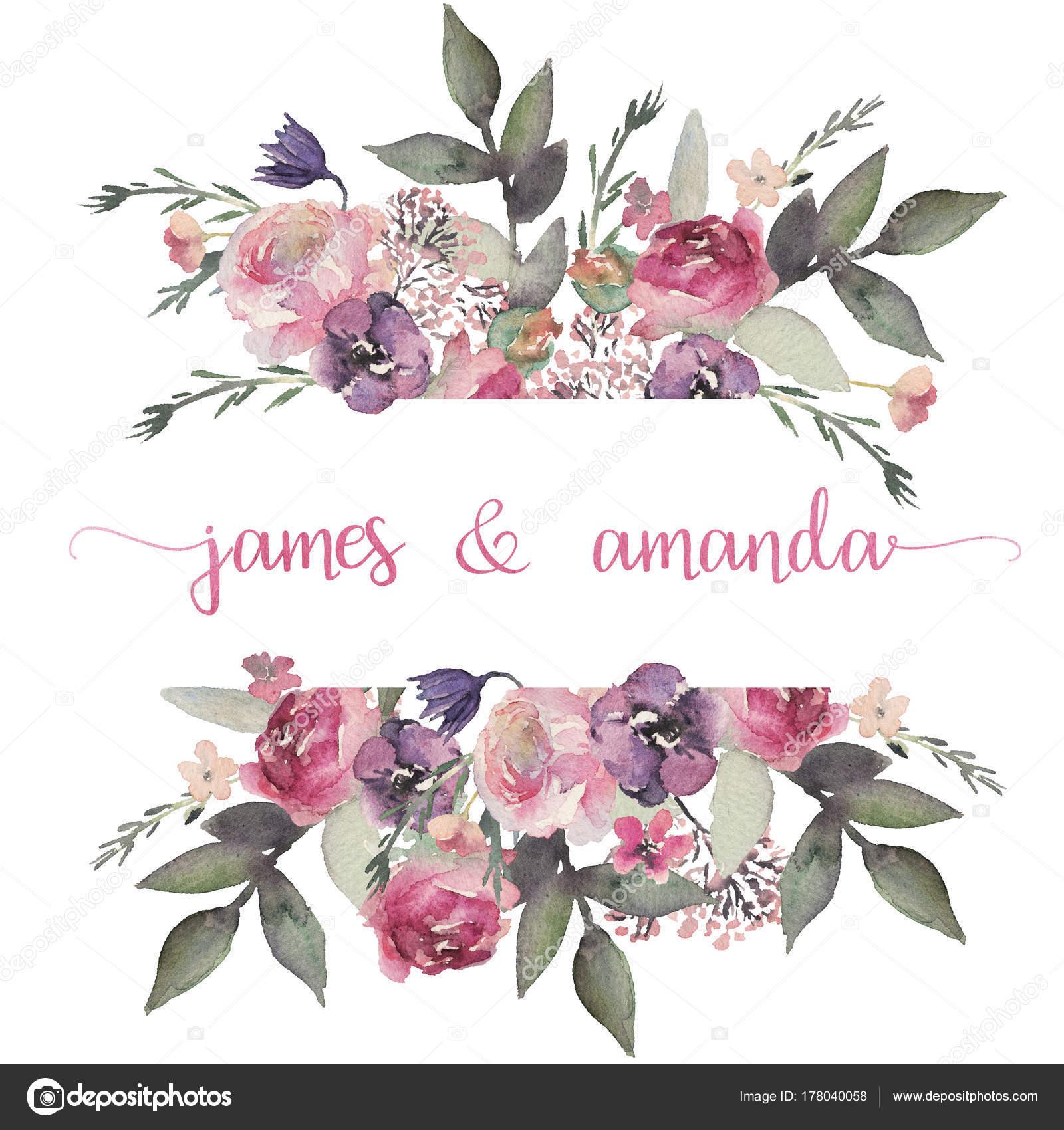 Watercolor Floral Frame Border Flower Illustration Wedding