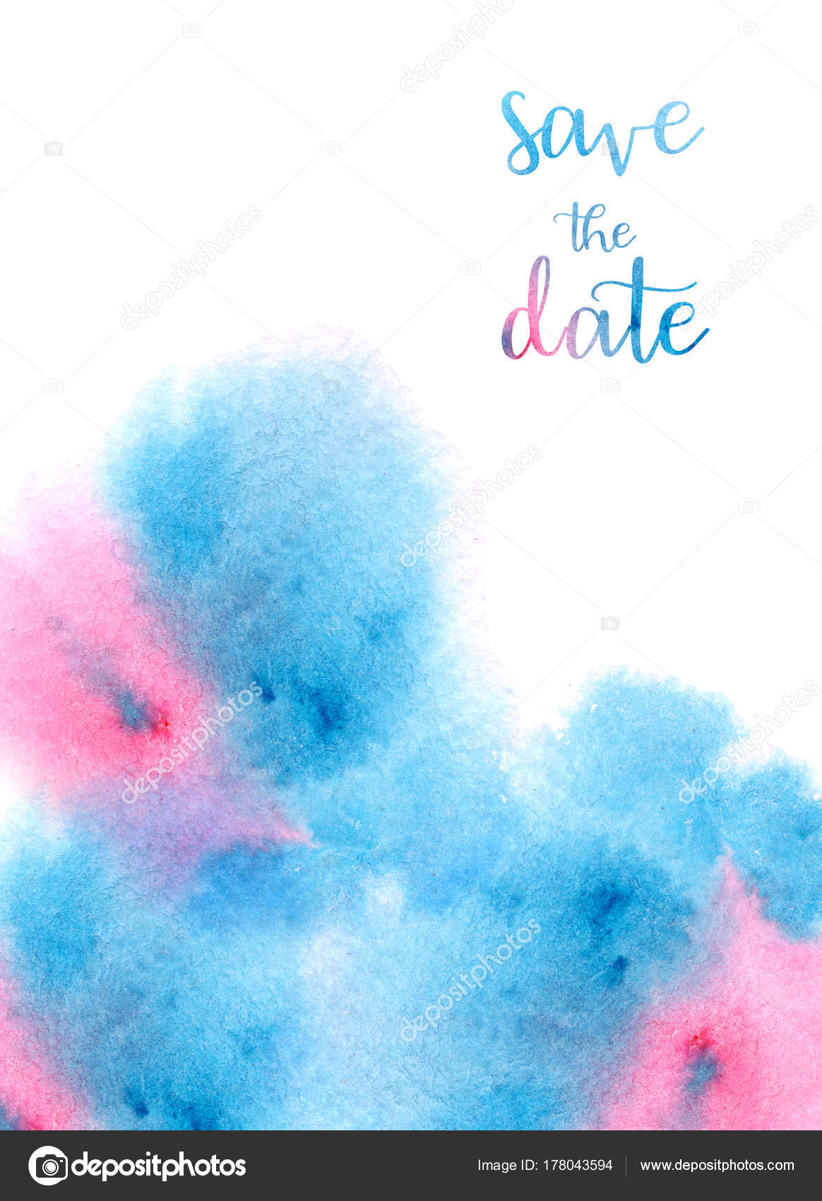 Watercolor Handmade Colorful Abstract Background Illustration Pink Blue Colors Wedding Stock Photo C Veris Studio 178043594