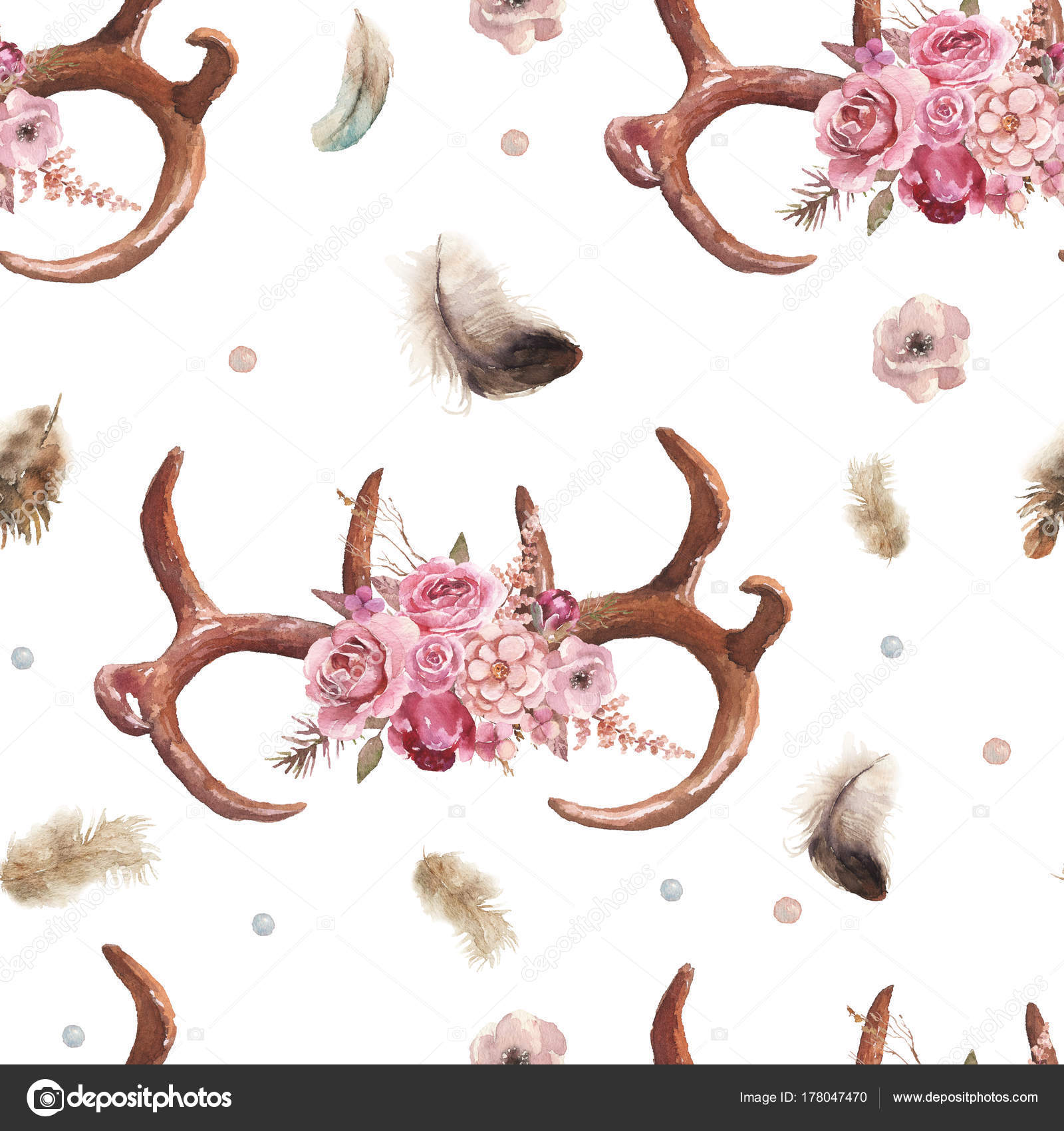 Watercolor Boho Seamless Pattern Feathers Antlers Floral