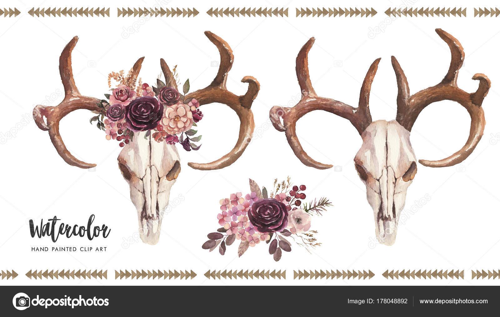 Aquarell Boho Blumen Abbildung Set   Bulle/Kuh Schädel Mit Geweih U0026  Blumenstrauß, Arrangement Für Hochzeit, Jubiläum, Geburtstag, Einladungen,  ...