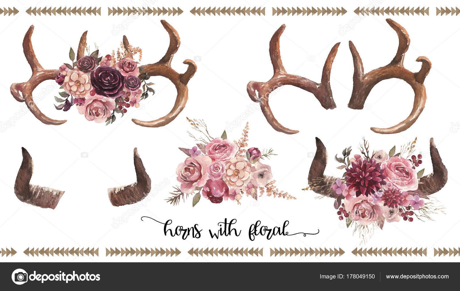 Aquarell Blumen Abbildung Set   Stier / Kuh / Hirsch Hörner U0026 Geweih Mit  Blume Blumensträuße Für Hochzeit, Jubiläum, Geburtstag, Einladungen, ...