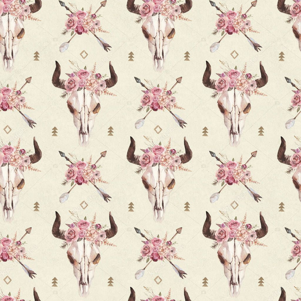 Watercolor boho seamless pattern of arrows, bull skull with horns & floral arrangement on bright background. Native american decor, print element, tribal bohemian navajo, Indian, Peru, Aztec wrapping