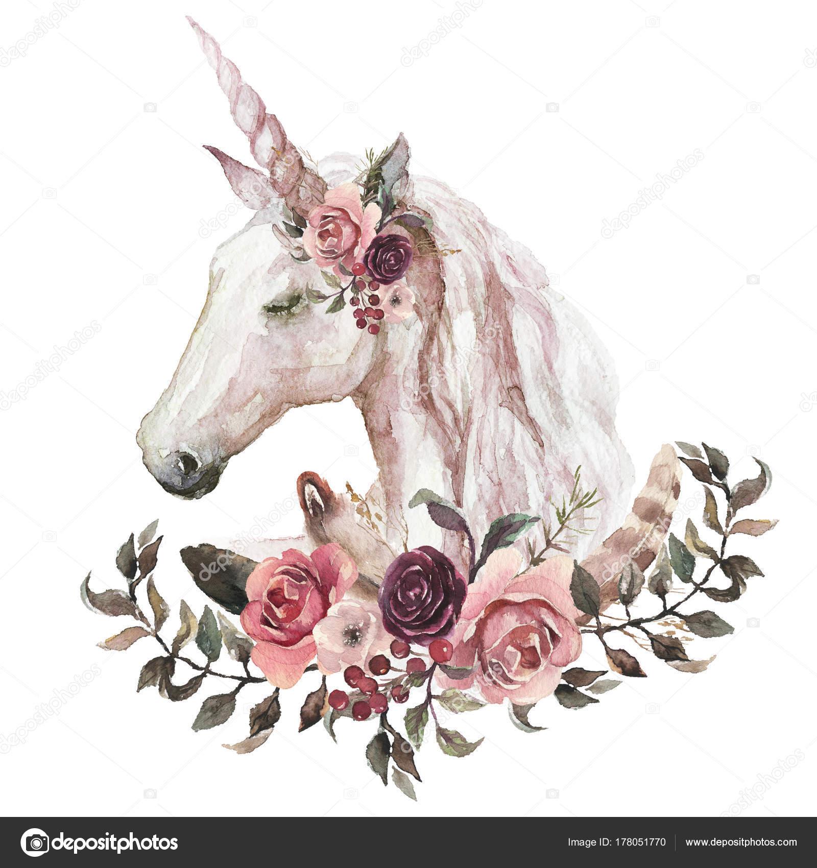 Ilustração Aquarela Boho Florais Animais Unicórnio Com Elementos