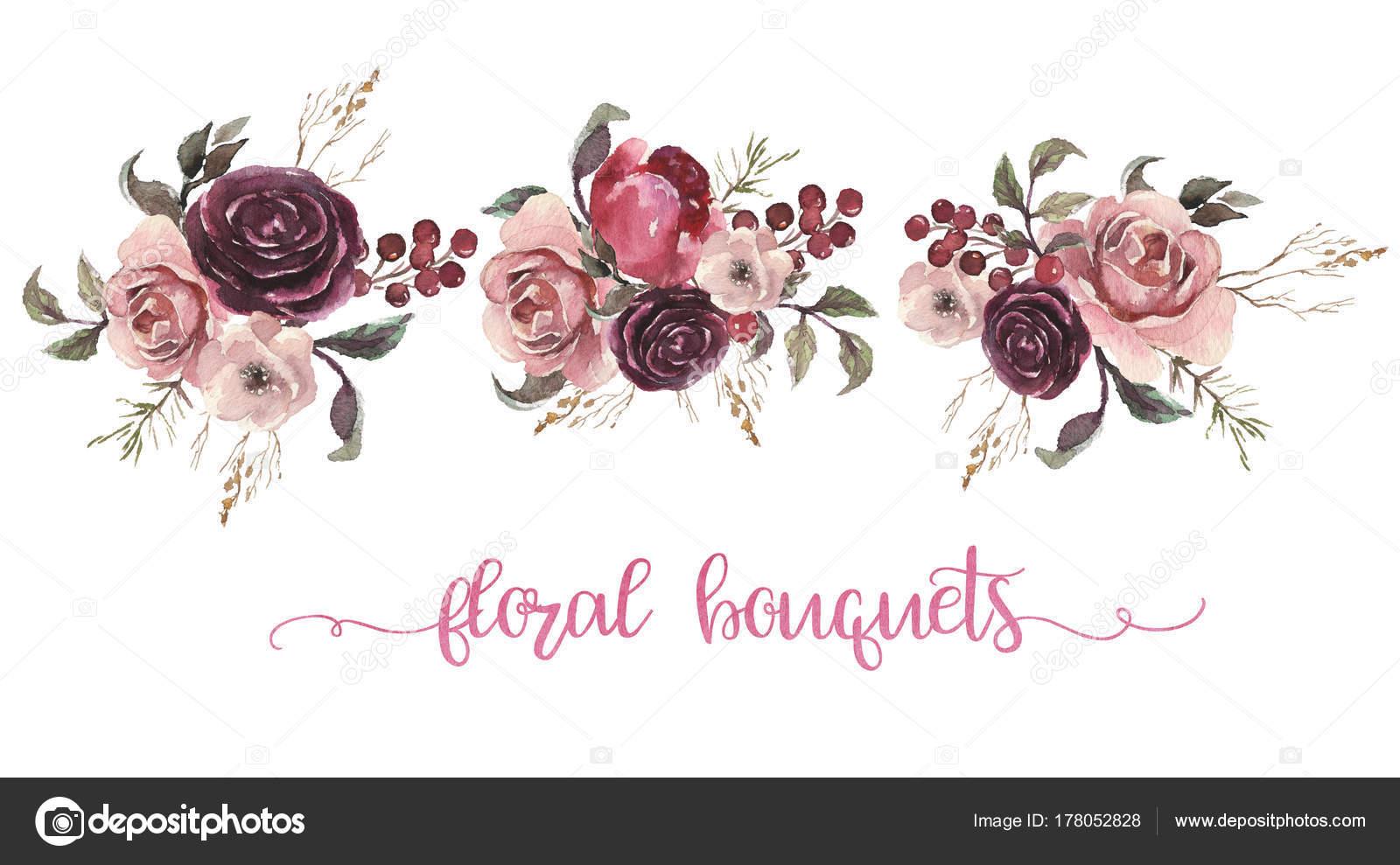 Ilustración Floral Acuarela Tres Ramos Flores Con Plumas
