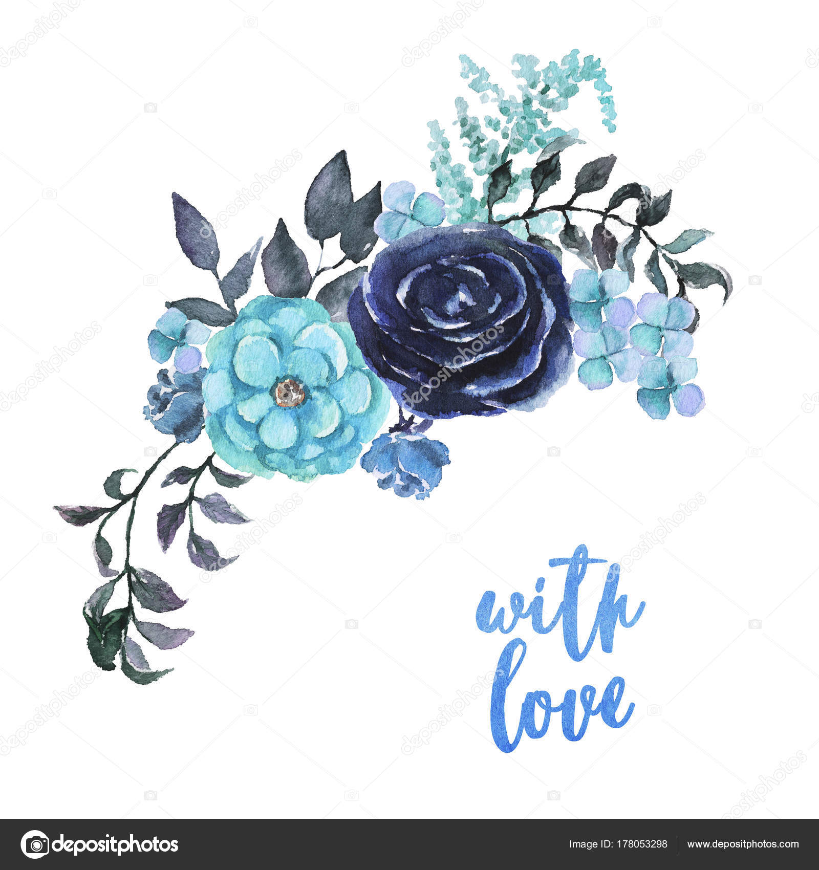 Watercolor Sky Blue Flowers Bouquet Beautiful Floral Clip Art