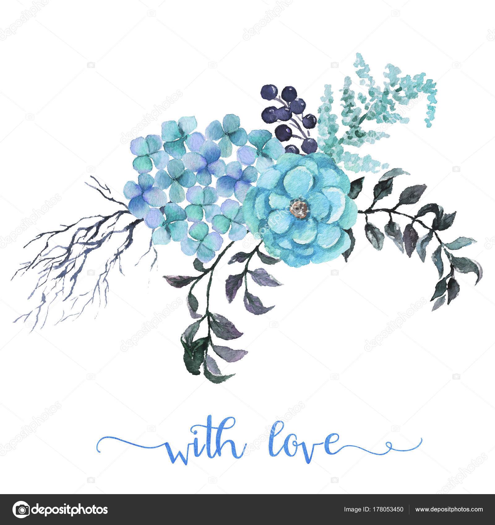 Invitaciones Azules Para Cumpleaños Ramo Flores Acuarela
