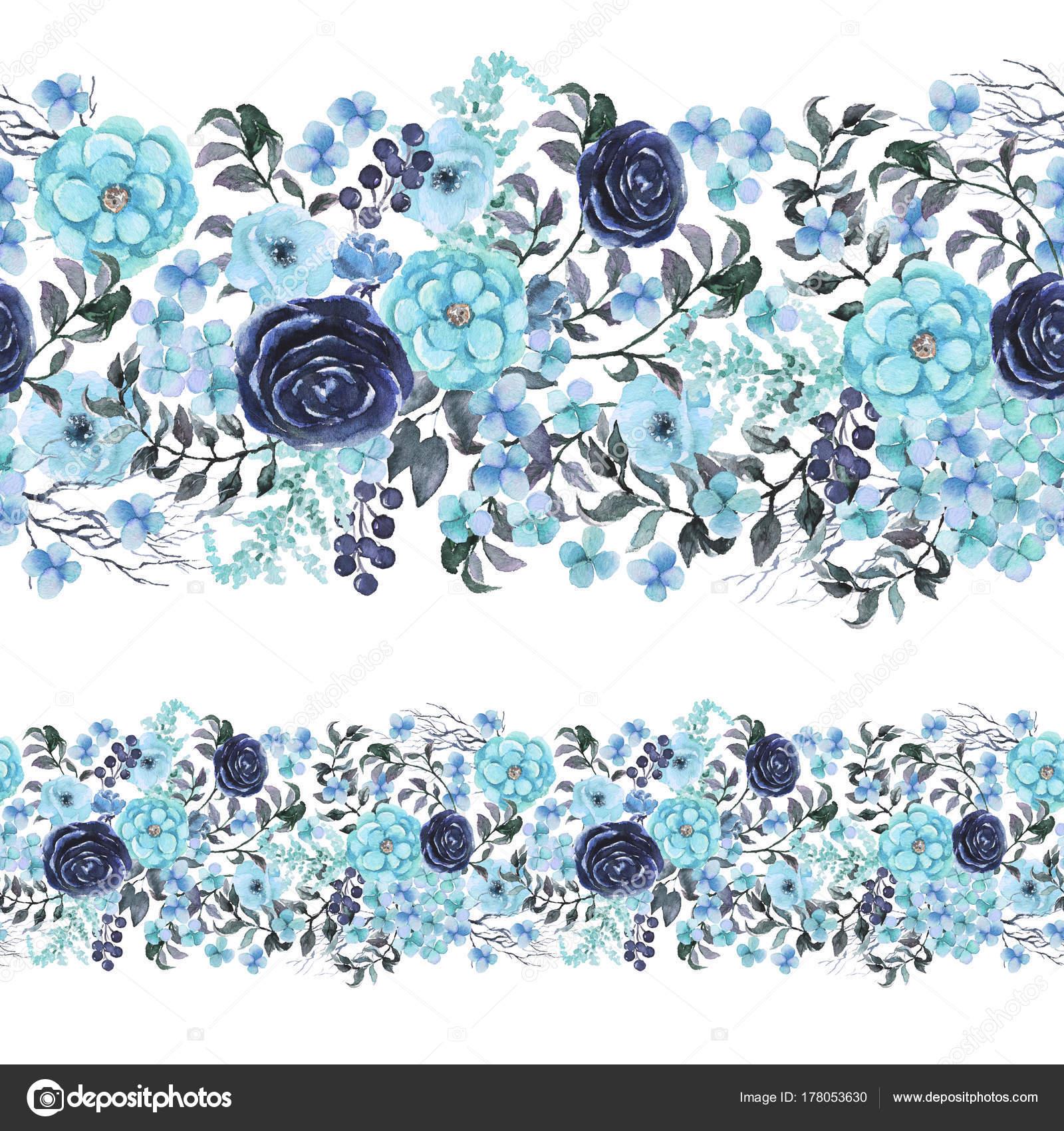 Patrón Transparente Floral Acuarela Frontera Marco Con Flores Azules ...