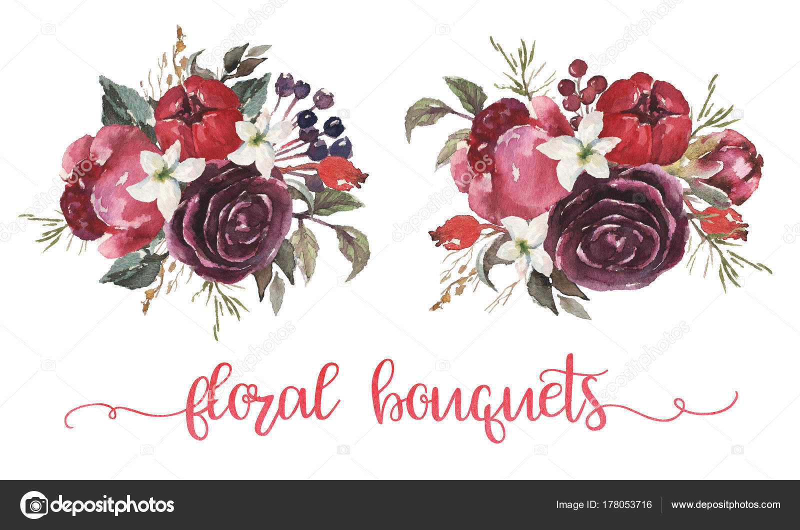 Watercolor Floral Illustration Couple Beige Burgundy Pink Flower ...