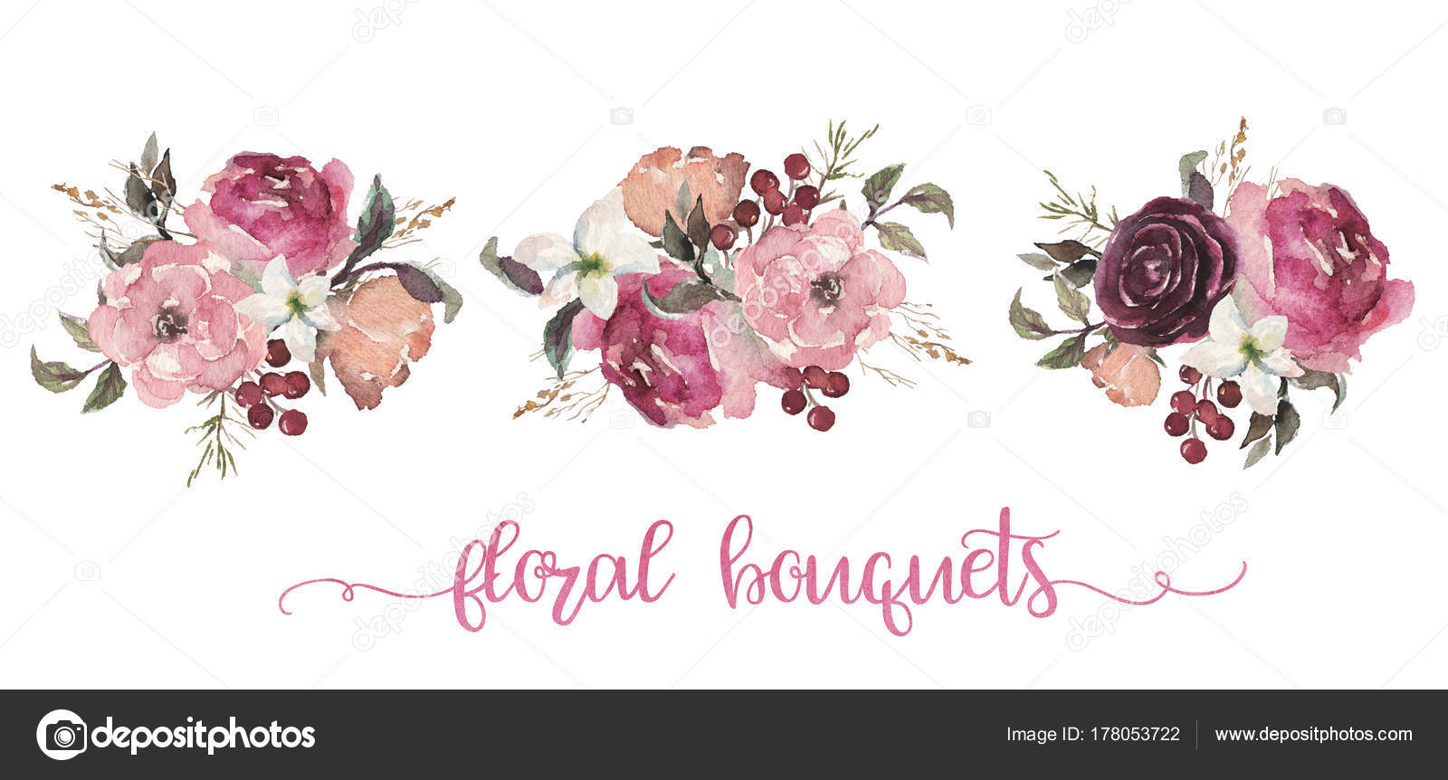 Ilustración Floral Acuarela Tres Ramos Flores Beige Burdeos