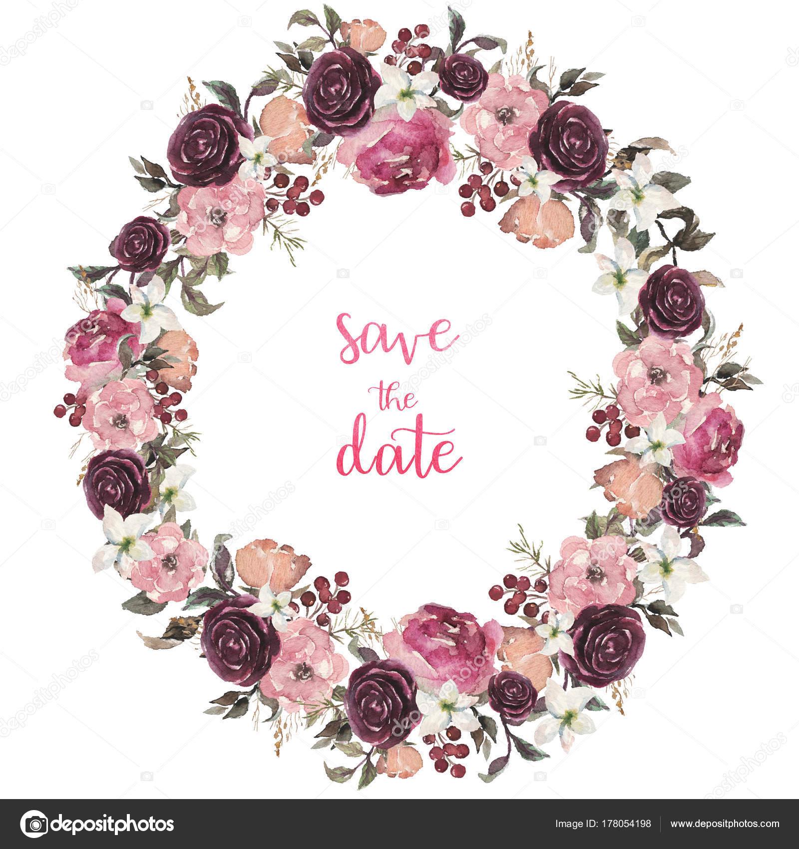 Guirnalda Acuarela Ilustración Floral Con Rosa Beige Burdeos Flores ...