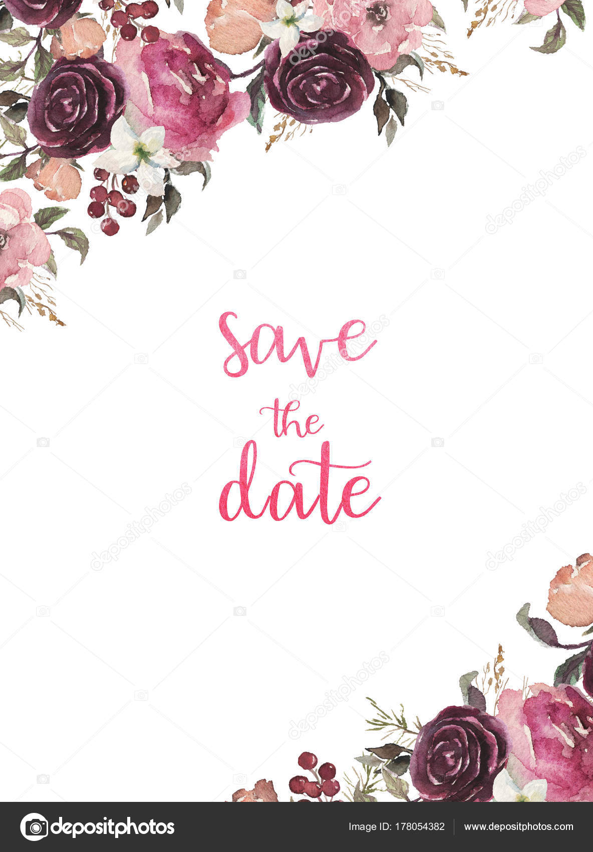 Floral Frame -Save the Date Card – Lipstick recommend