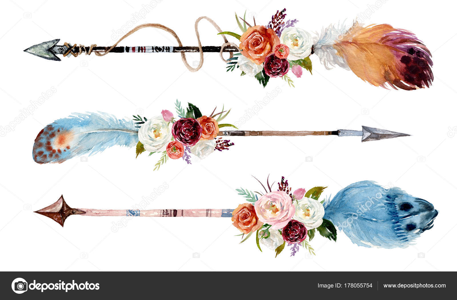 Watercolor Ethnic Boho Set Arrows Feathers Flowers Native American Tribe — Stock Photo