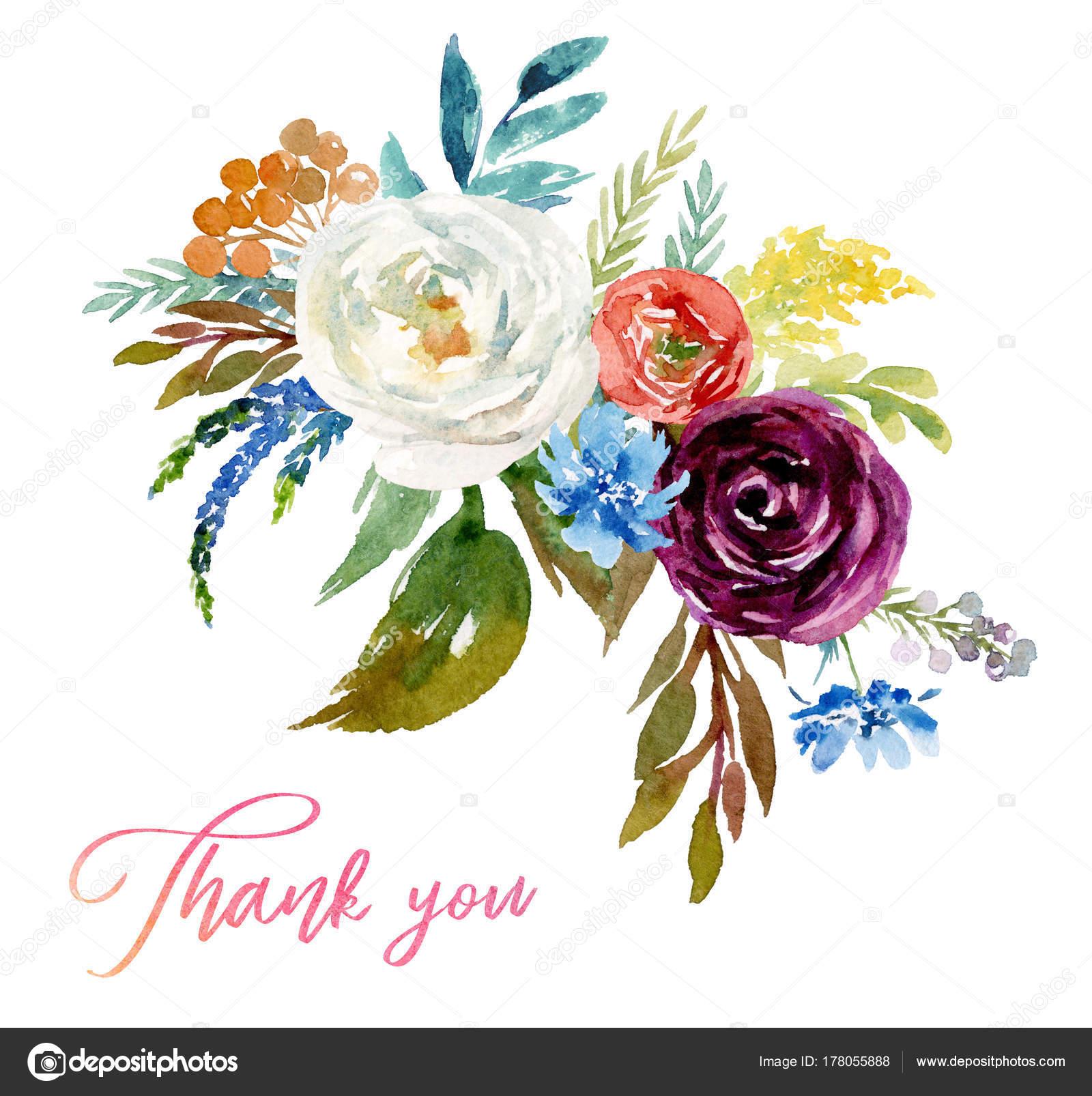 Watercolor Floral Bouquet Arrangement Colorful Flower Illustration