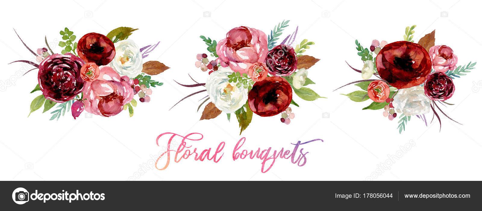 Imágenes Ramos De Flores Cumpleaños Acuarela Floral Set