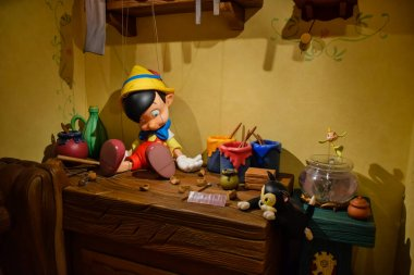 TOKYO, JAPAN: Geppetto's house with Pinocchio on the table setup in Disneystore located at Shibuya, Tokyo