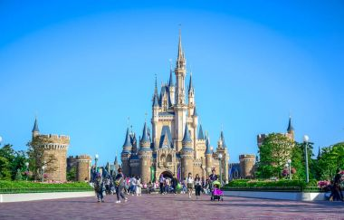 CHIBA, JAPAN: View of Tokyo Disneyland Cinderella Castle