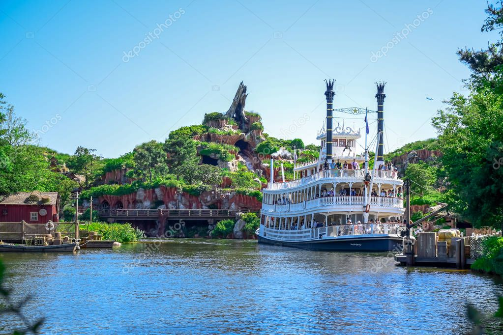 CHIBA, JAPAN: Mark Twain Riverboat in the river in Westernland, Tokyo Disneyland