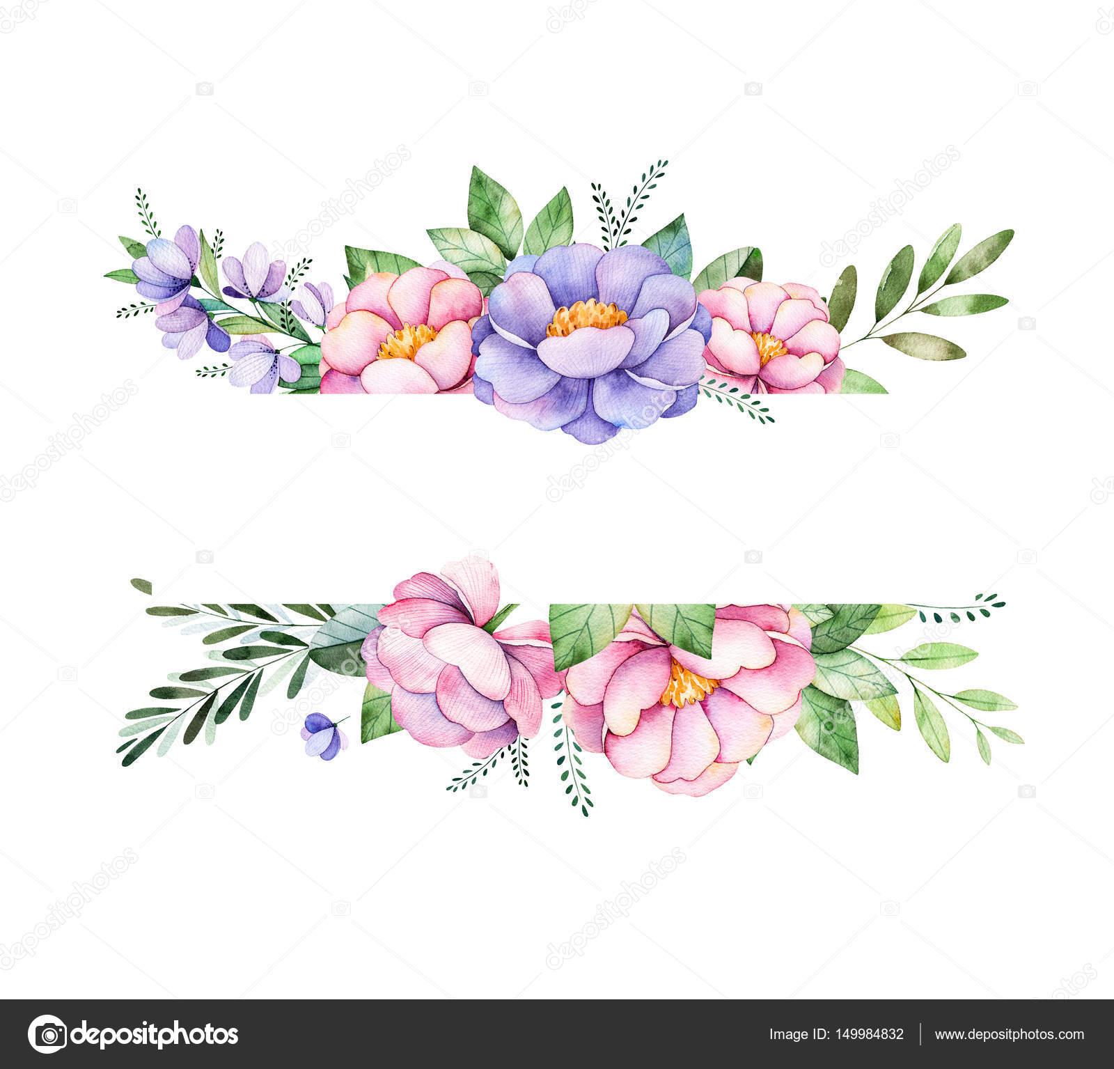 Beautiful watercolor border frame — Stock Photo © Katerina_Skorik ...