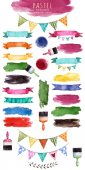 Fotografie Aquarell mehrfarbige Kollektion mit Bändern