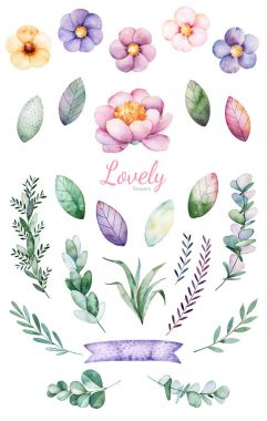 Handpainted watercolor 25 lovely clipart
