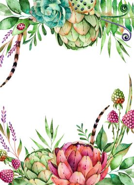 Colorful Seamless pattern with succulents plants